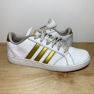 White Gold Leather 3 Stripe Low Top Sneakers